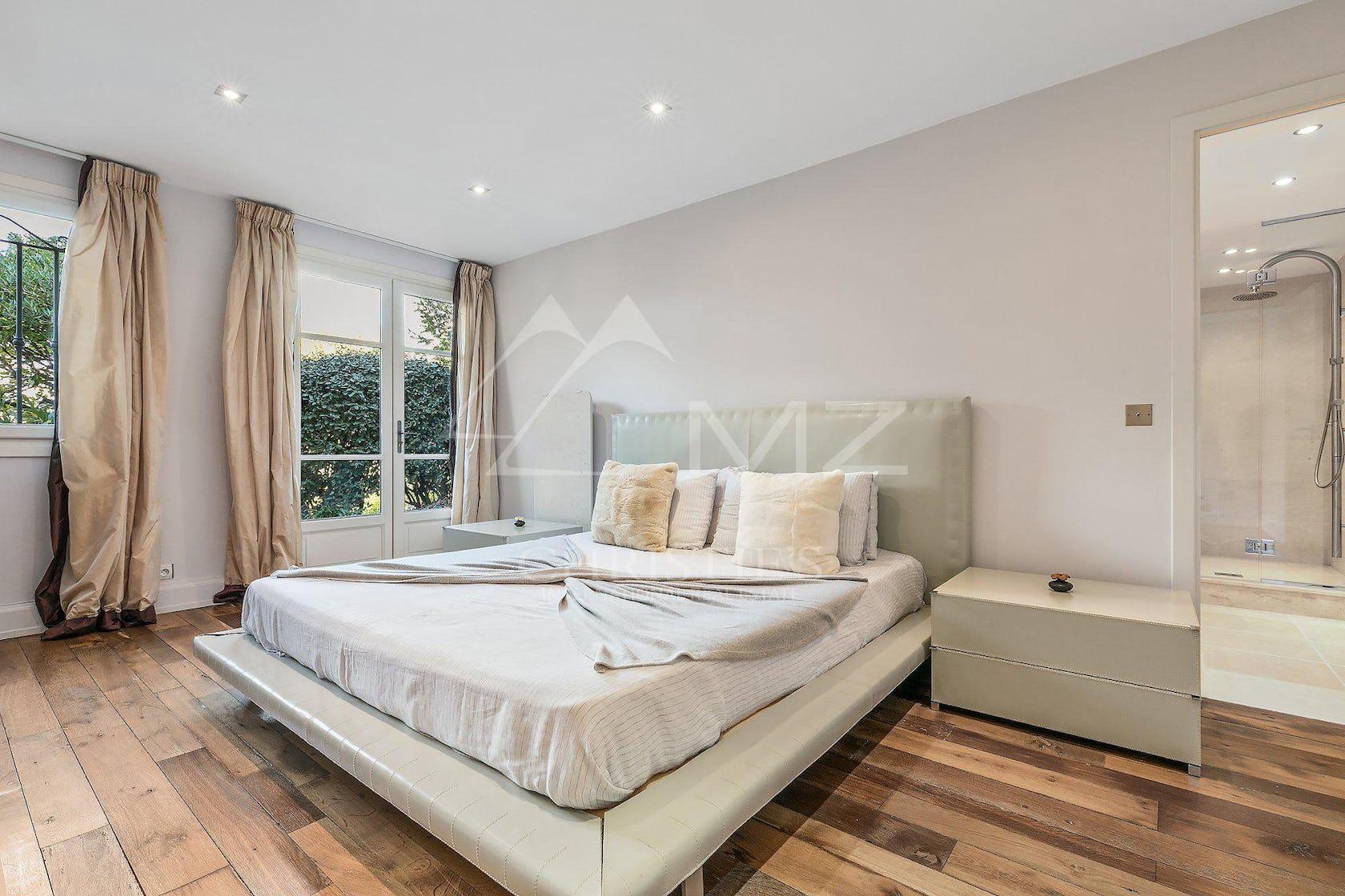 bedroom room indoors flooring furniture wood floor hardwood bed
