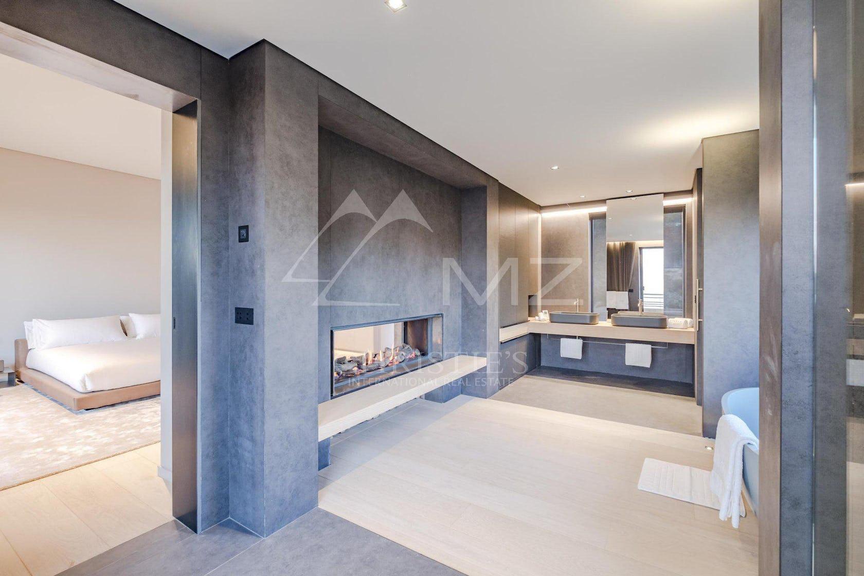 interior design indoors lobby room floor fireplace flooring lighting