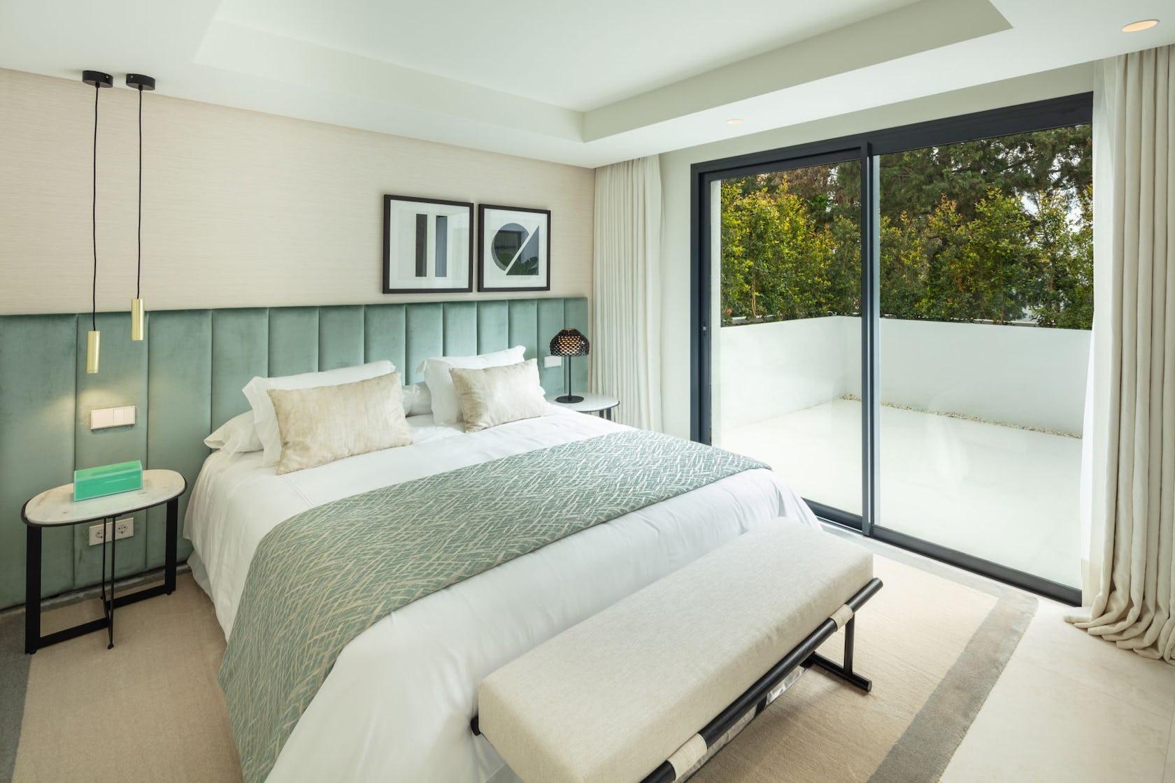 bed furniture interior design indoors bedroom room housing building lighting