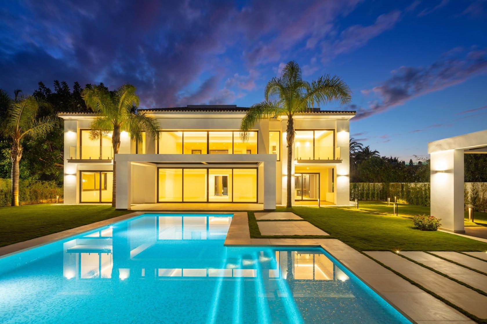 villa housing building house water mansion pool swimming pool