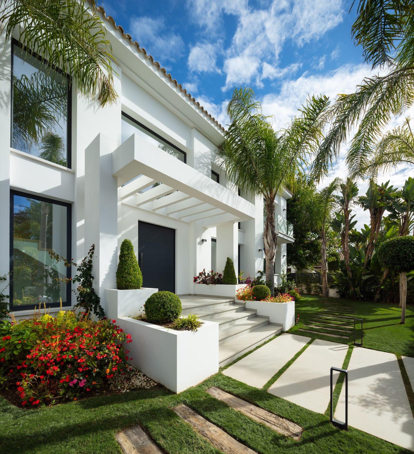 outdoors housing building garden arbour villa house flagstone