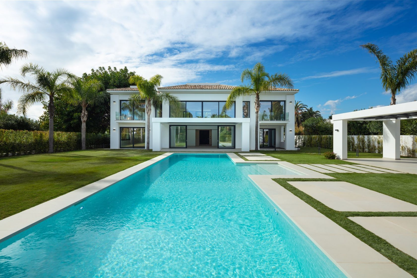 villa housing building house pool water swimming pool