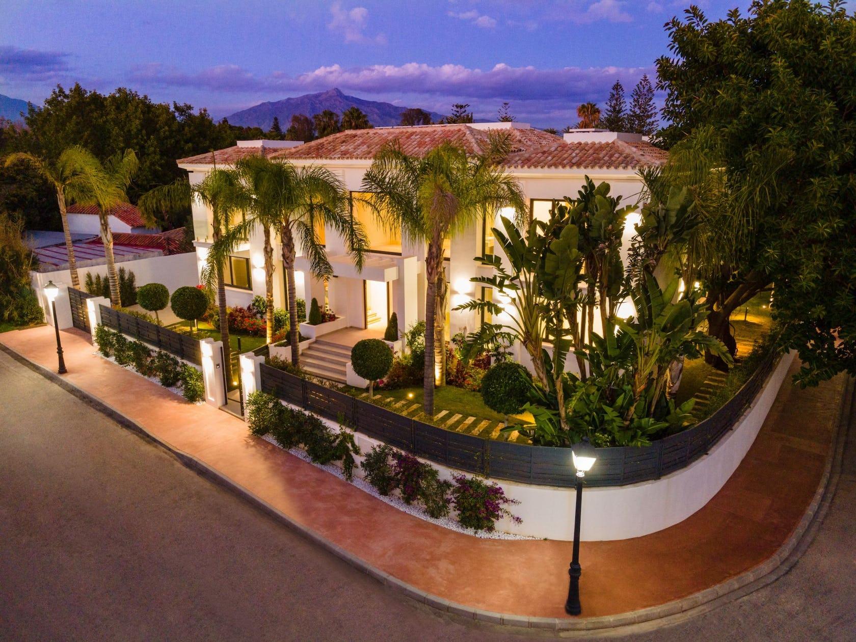 villa building housing house hotel resort tree plant
