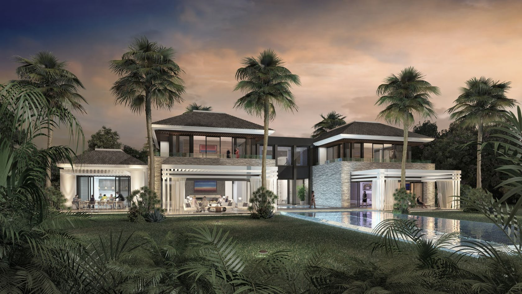villa housing building house mansion palm tree arecaceae tree plant