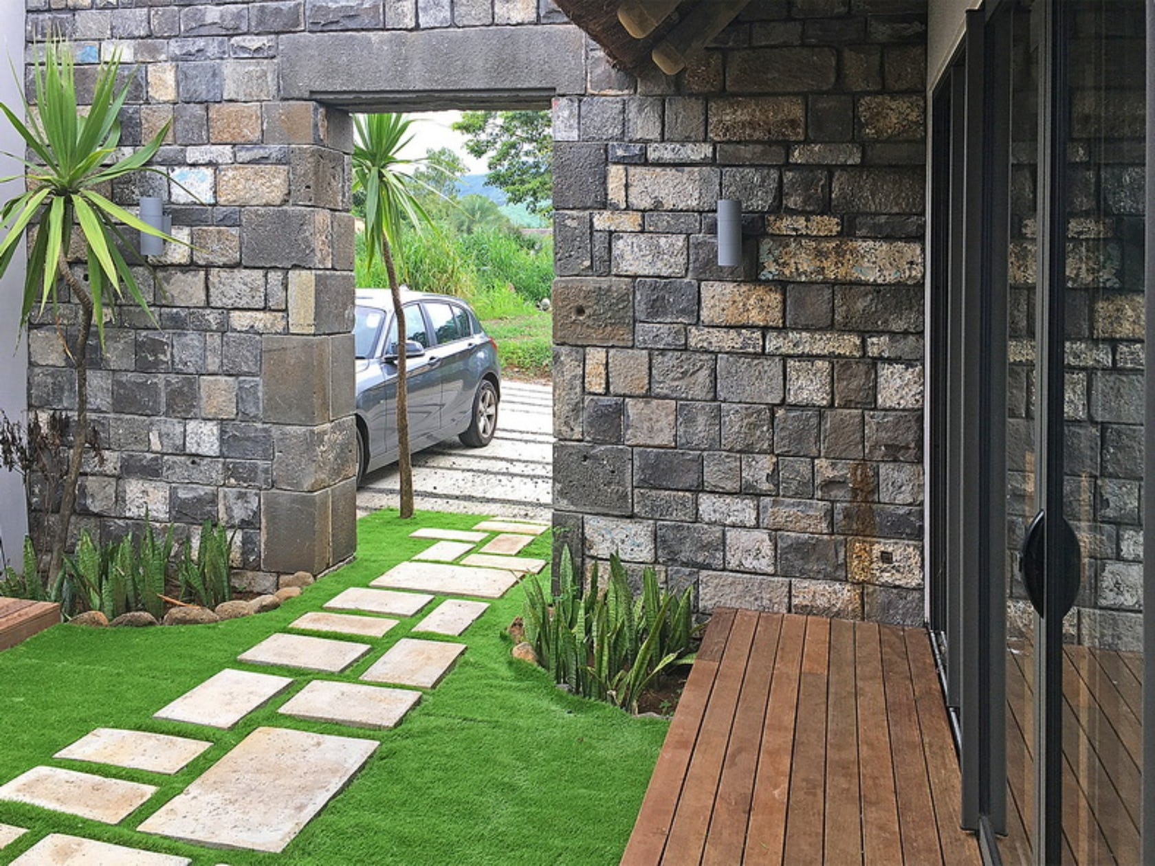 walkway path car transportation flagstone slate grass plant wheel machine