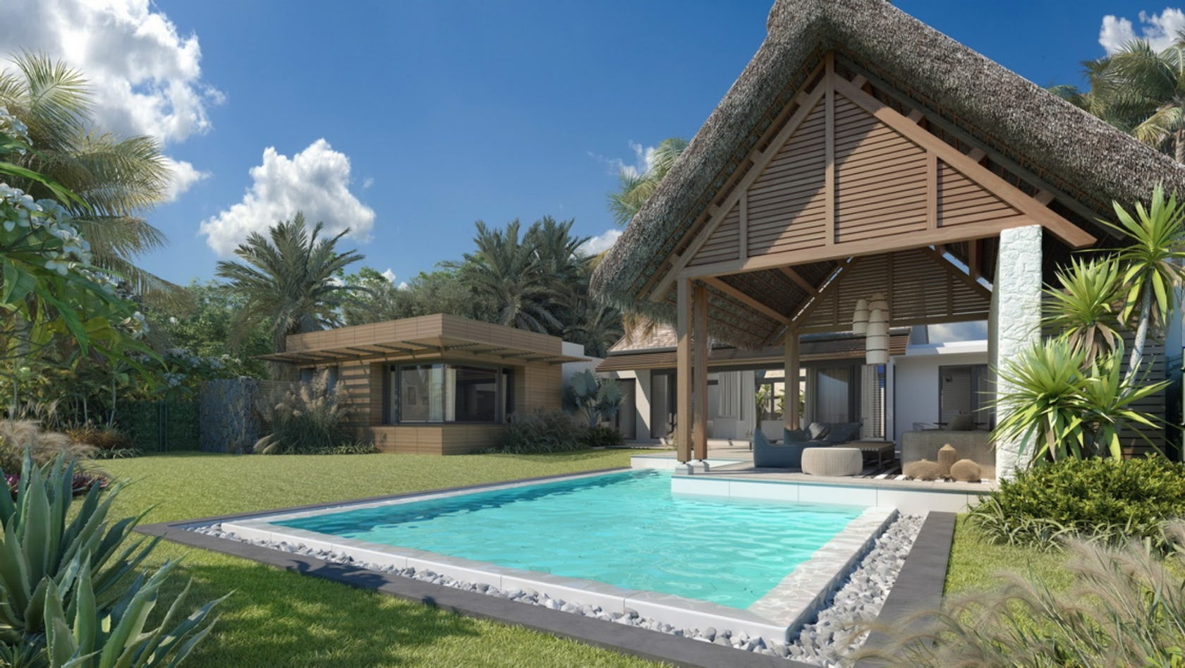water pool villa building housing house swimming pool outdoors