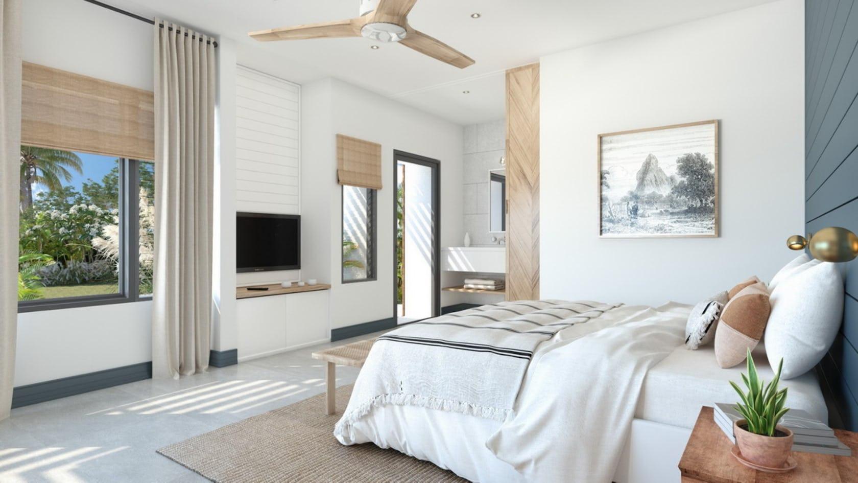 ceiling fan appliance bed furniture home decor bedroom indoors room