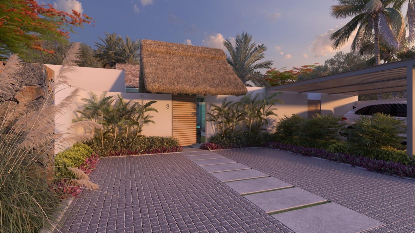 walkway path flagstone bush plant vegetation building outdoors tree