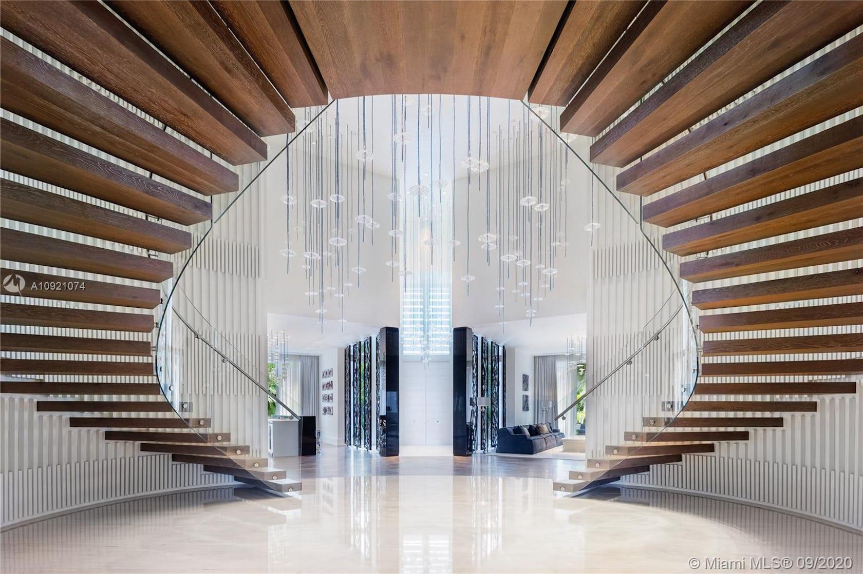 lobby indoors room staircase interior design handrail banister