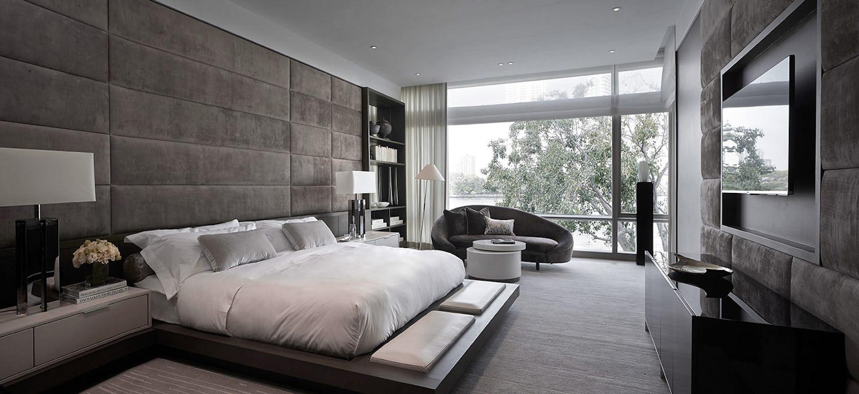 interior design indoors bedroom room furniture bed