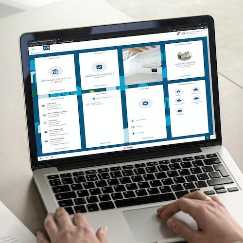 TVT Asuntojen asukassivut auki tietokoneen ruudulla