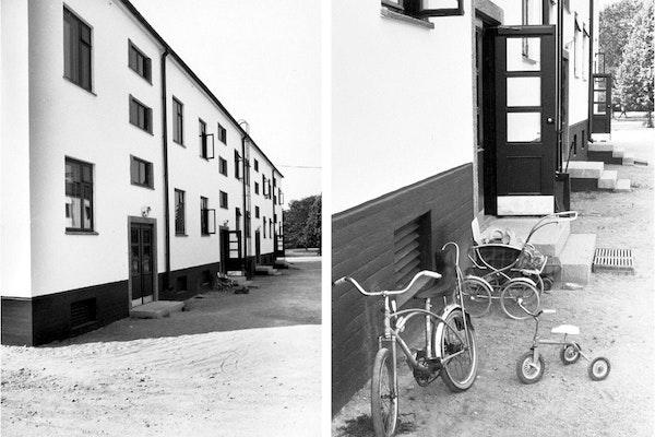 Turun Sanomat uutisoi Mäntymäki I:en peruskorjauksesta ja ensimmäisten talojen valmistumisesta vuonna 1978. Ylin kuva pihasta on vuodelta 1981. Kuva: TS