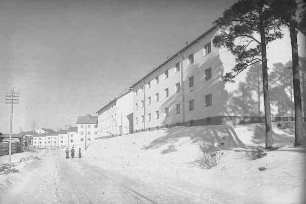 Mäntymäki I ja II valmistuivat 1940-luvun lopulla ja muodostivat funktionalistista arkkitehtuuria edustavan kokonaisuuden Kunnallissairaalantien varteen. Kuvassa etualalla olevia kolmikerroksisia ei ole vielä maalattu. Kuva: TMK