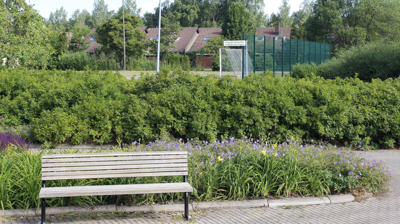 Kuvassa vehreä puisto Räntämäessä