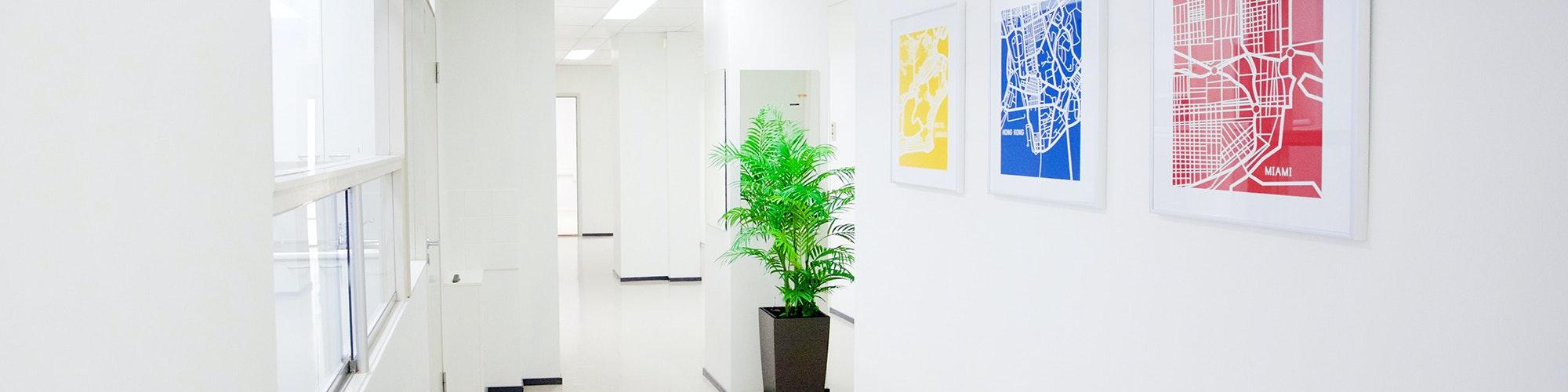 Kuvassa toimistohotellin käytävä