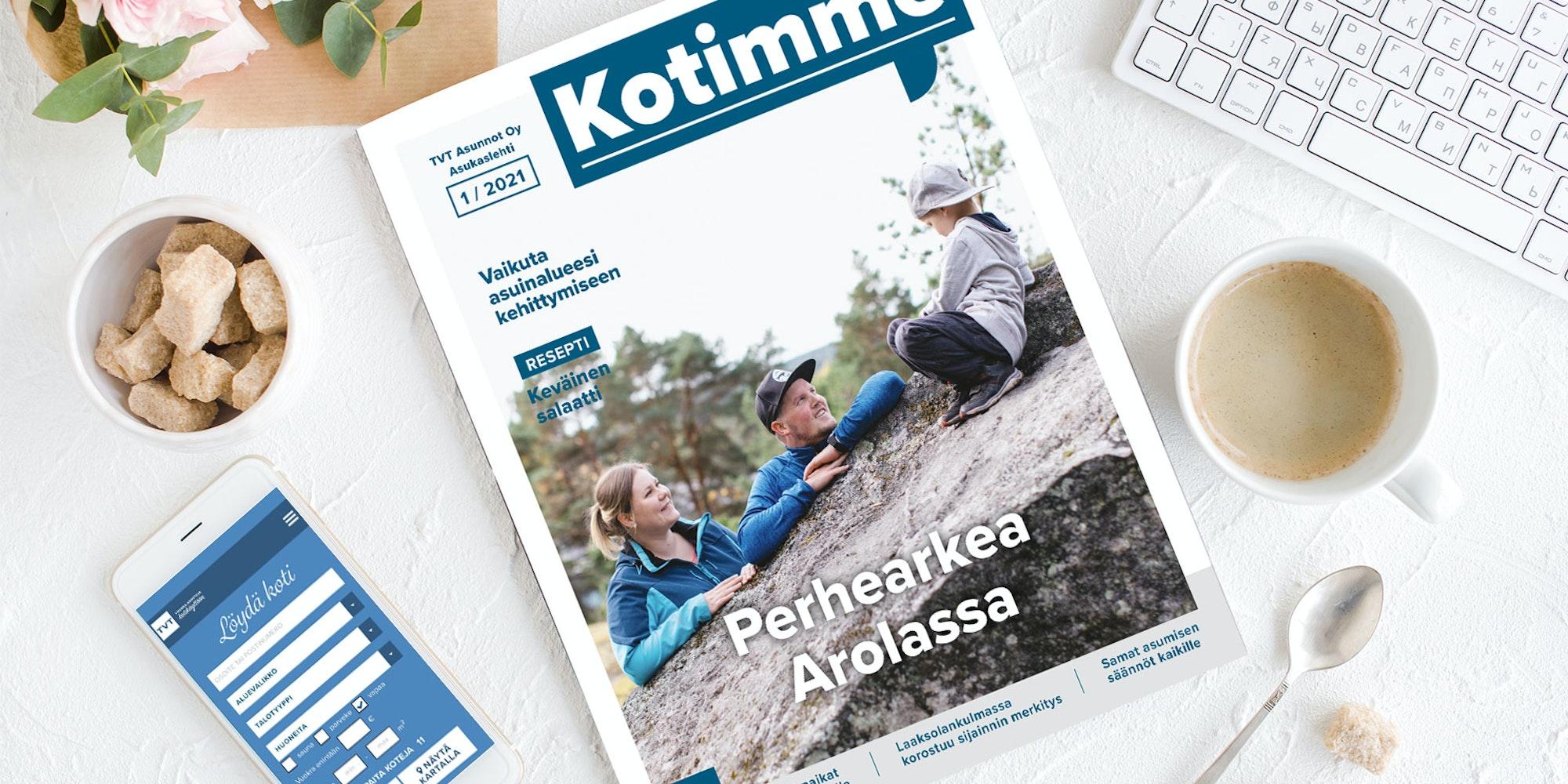 Kotimme lehti 1/2021 kansi: Perhearkea Arolassa