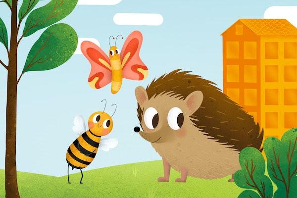 Piirroskuvassa mehiläinen, perhonen ja siili