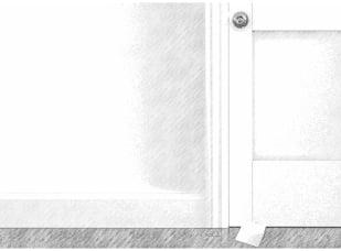 Drzwi, pod którymi widać zostawionąkarteczkę