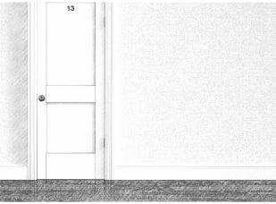 szkic drzwi wejściowych z numerem 13