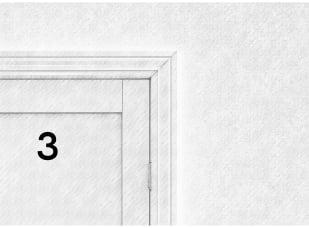 Zbliżenie na drzwi z numerem 3