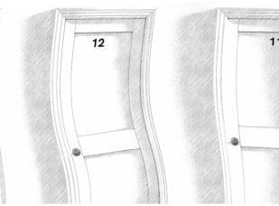 Zniekształcone dwoje drzwi, o numerach 12 i 13