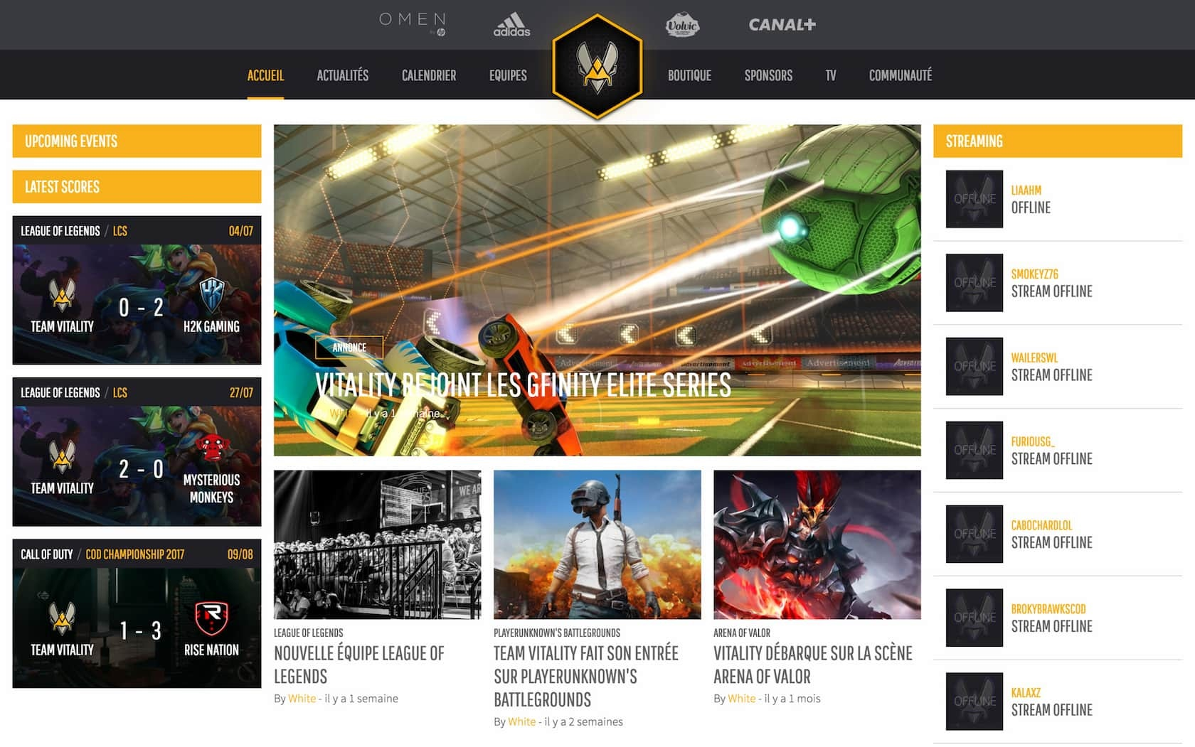 Team Vitality website, vitality.gg, onligne from 2018 to late 2019