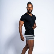 The Limited Edition Ballsy Pirate Black Stripes Boxer Brief for men in the USA and Canada