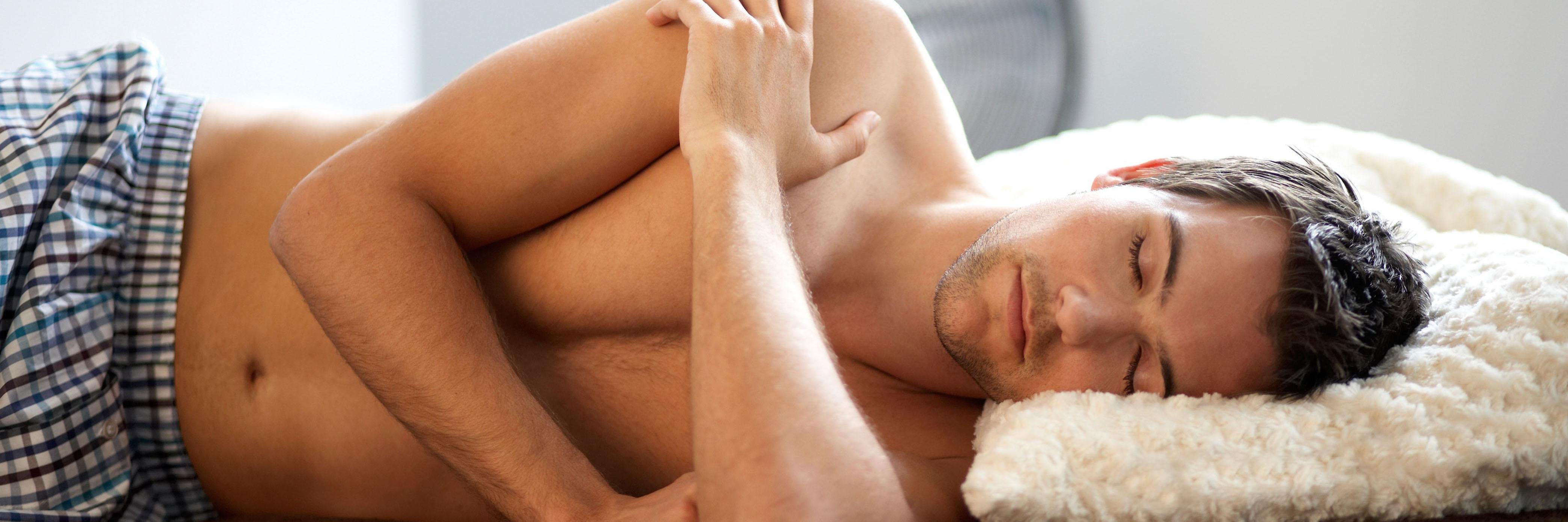 Man sleeping in underwear