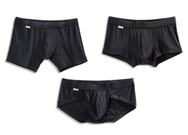 Showcasing the TBô underwear made of bamboo fabric cut in boxer briefs, trunks and briefs