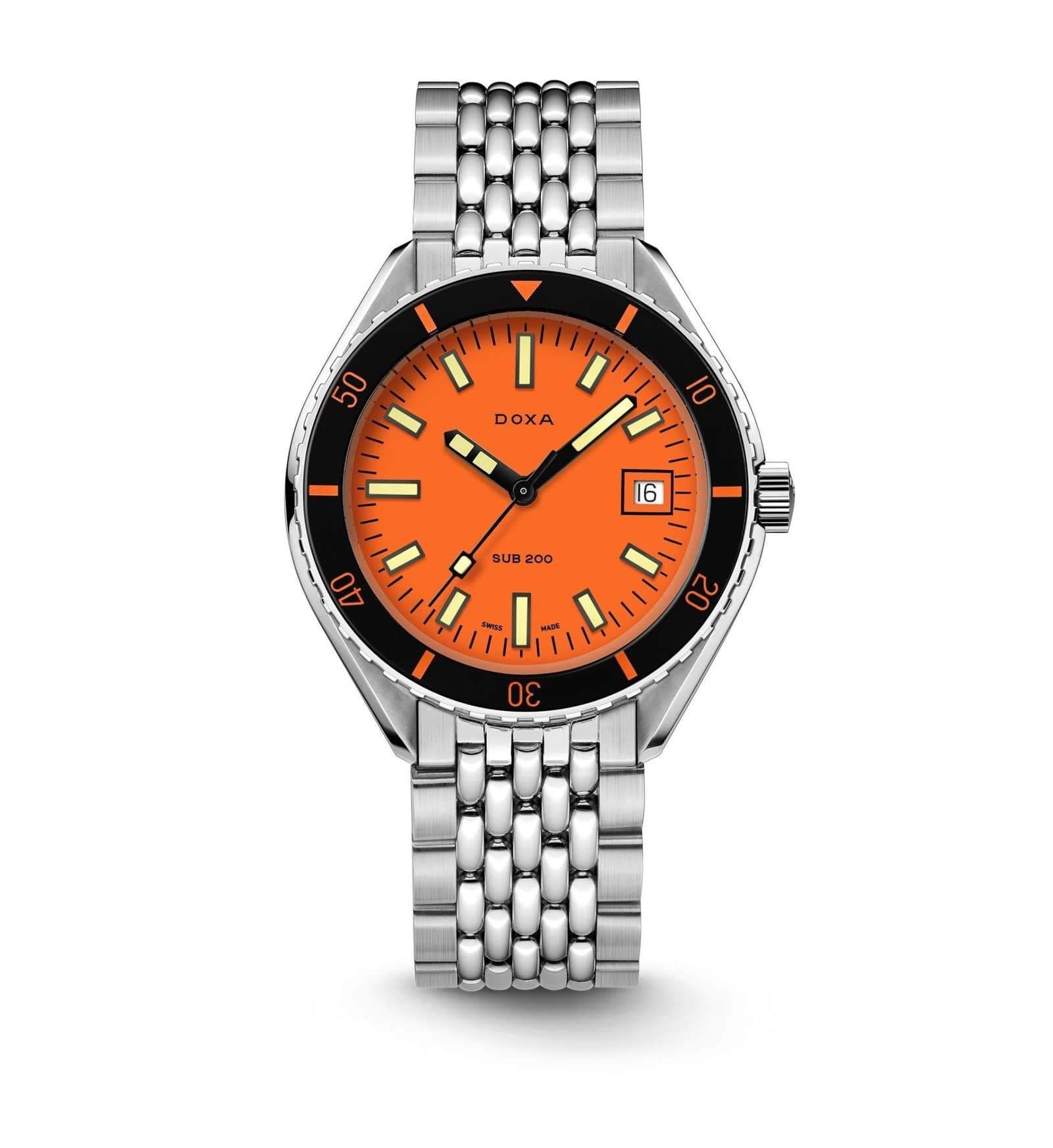 Image of the Doxa Sub 200 watch with metal strap and orange interior