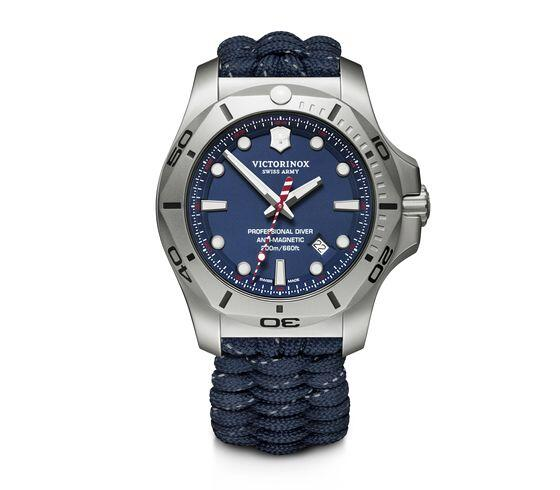 Image of a victorinox inox professional diver watch with hand woven paracord strap