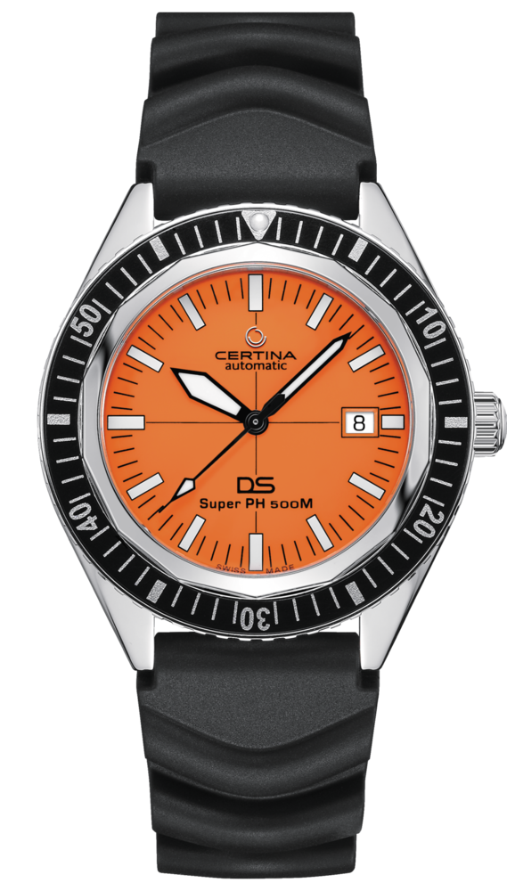 Image of the Certina DS Super PH500 M with orange dial