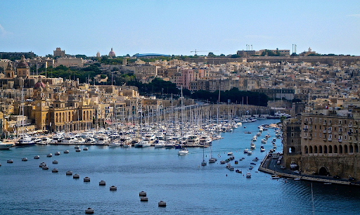 Landscape at Malta harbor  showing the ships docked and buildings on land
