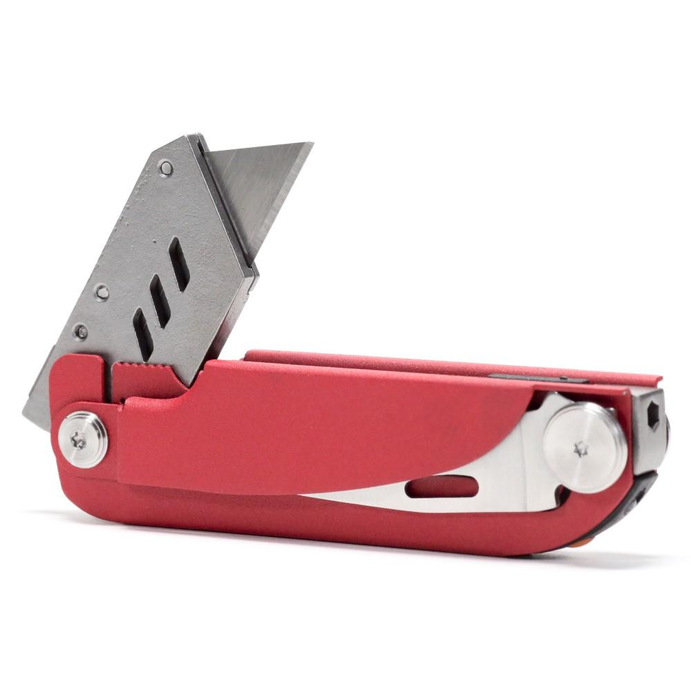 Red pocket army knife with multiple blades