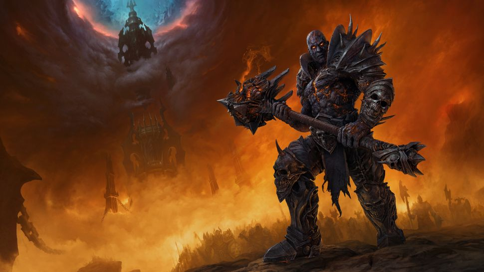Man like creature against a fantasy wildfire background holding a weapon