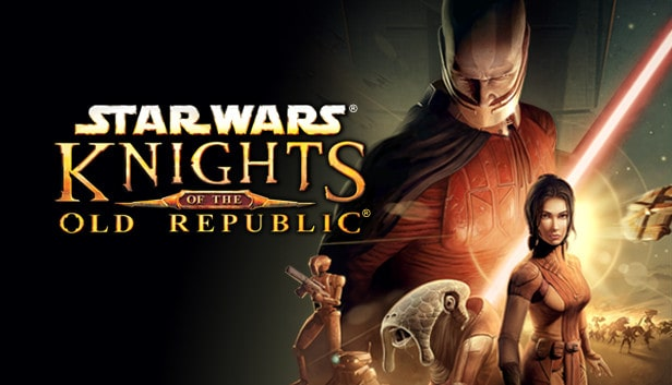 Star wars characters standing beside the title of the game