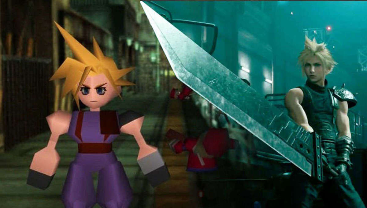 Two animated female characters standing side by side with a sword in between