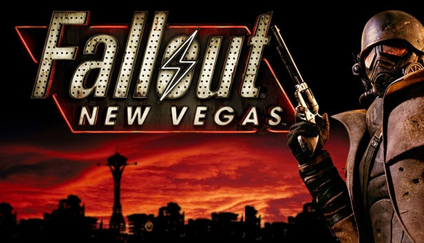 Silhouette of Vegas city with the title of the game and a man dressed in war gear