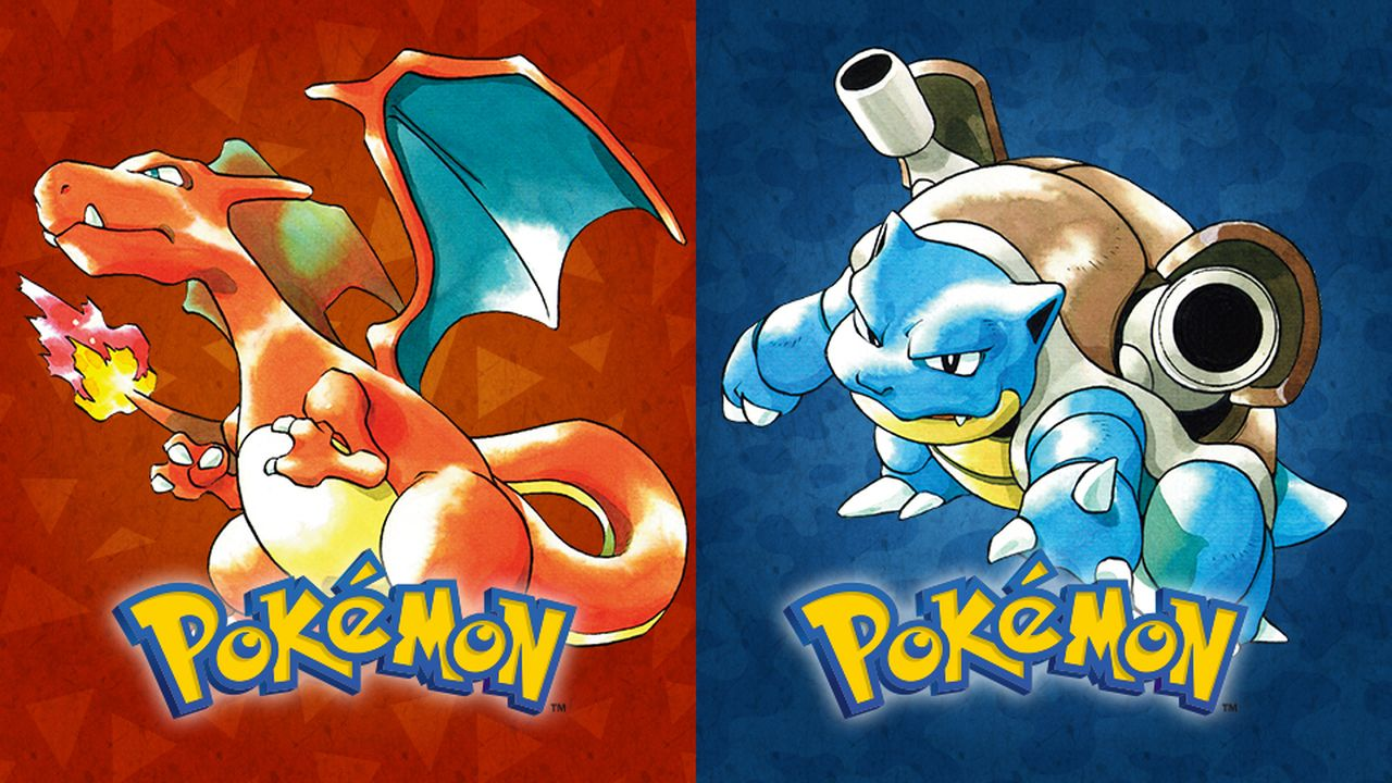 """Split screen with a Blue and Red pokemon against a background with """"Pokemon"""" written on both sides of the screen"""