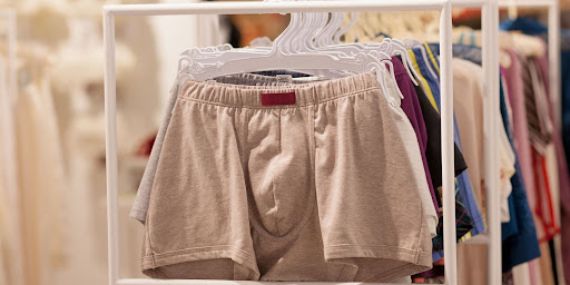 Cotton underwears in a variety of colors hanging in a shop