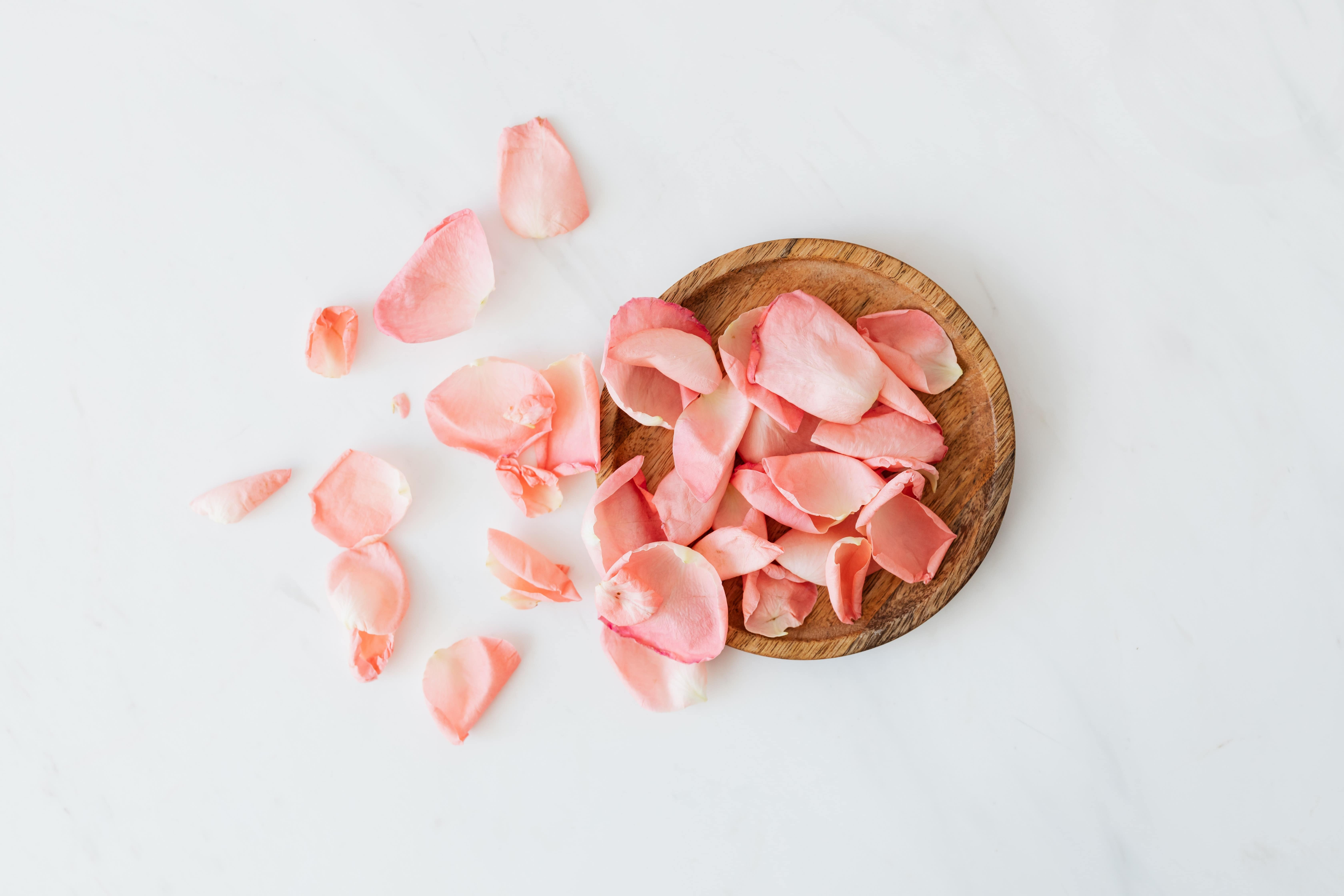 Rose petals falling from a basket against a white background