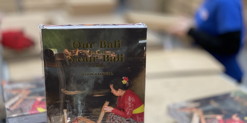 The hardback edition of Our Bali Your Bali at A&Os warehouse being prepared for  order fulfilment