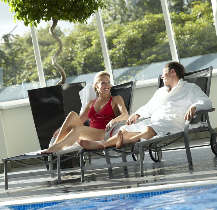 Relaxing by the pool at the Macdonald Aviemore Activity Centre