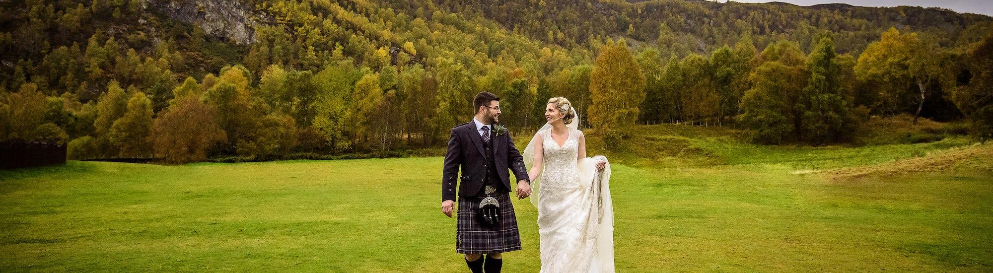 Bride and Groom in Resort Grounds