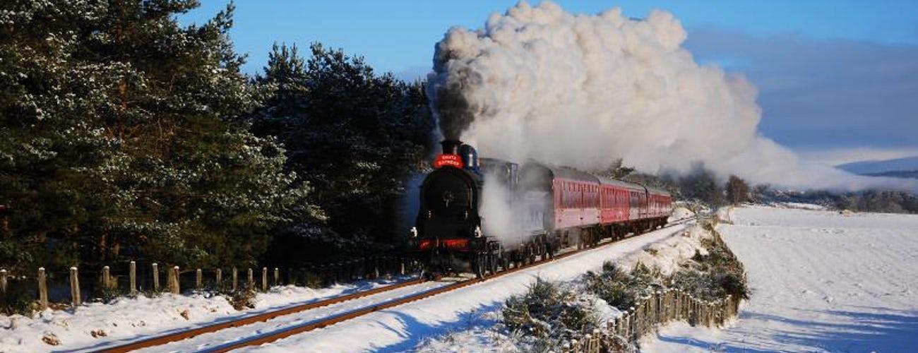 Aviemore Steam Train in Snow