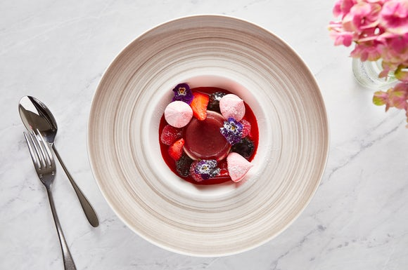 Champagne Strawberry Poached Panna Cotta