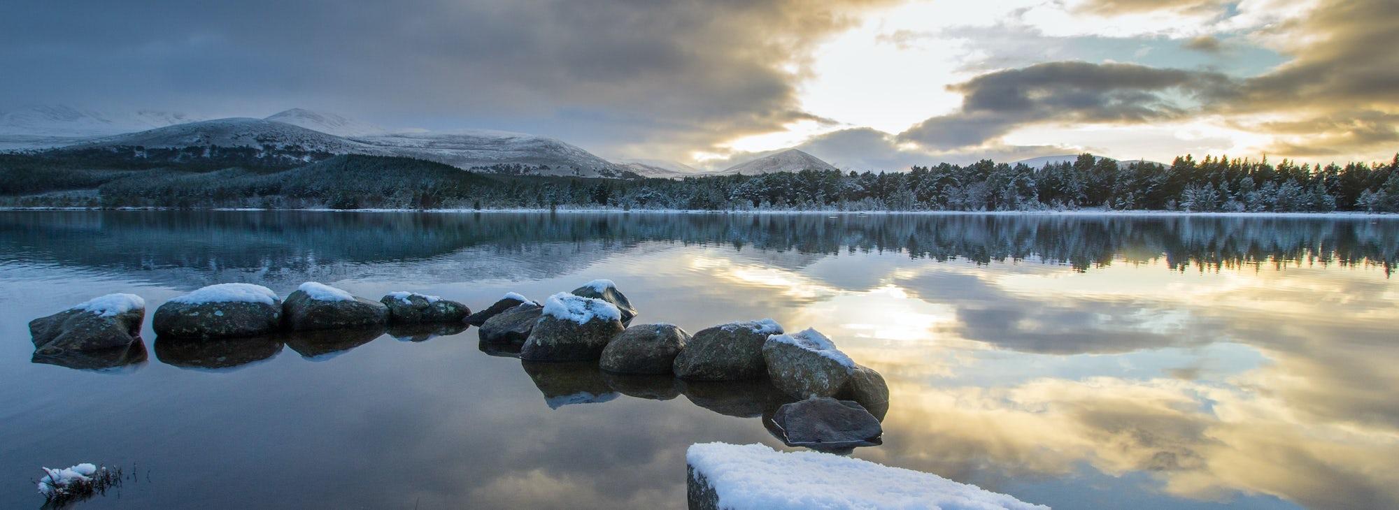 Loch Morlich with Snowy Landscape