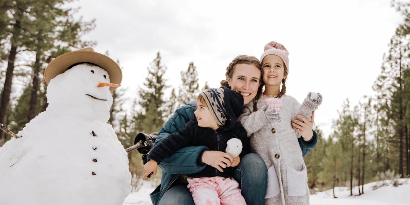 Family with snowman