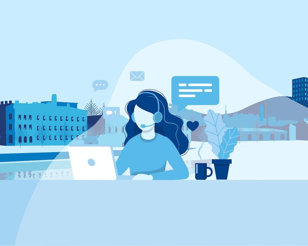 Piirroskuvassa asiakasneuvoja palvelee netissä ja puhelimessa