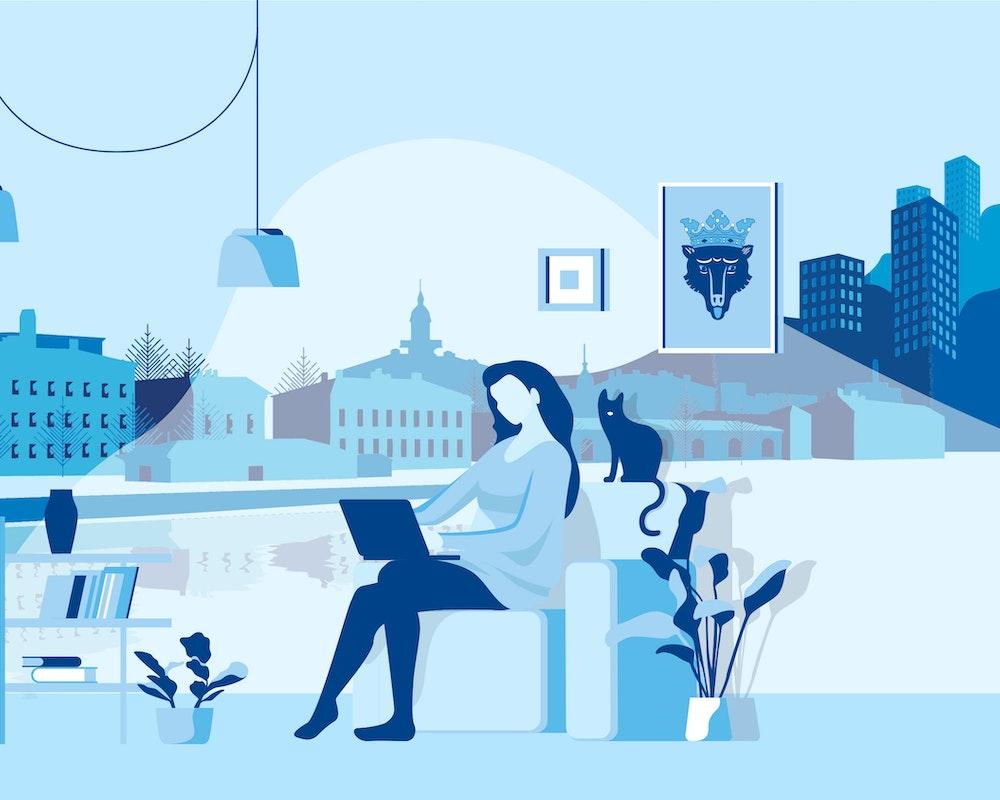 Piirroskuvassa nainen nojatuolissa kannettavan tietokoneen kanssa